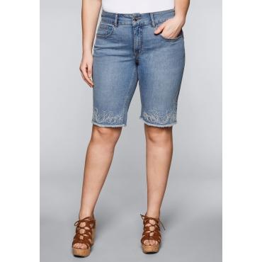 Große Größen: Bermuda Stretch-Jeans mit Stickereien, blue bleached Denim, Gr.44-58