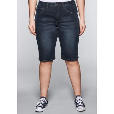 Große Größen: Bermuda Stretch-Jeans mit vorverlegter Seitennaht, dark blue Denim, Gr.44-58