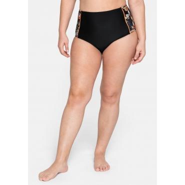 Bikinihose in High-Waist-Form mit seitlichem Druck, schwarz bedruckt, Gr.44-58