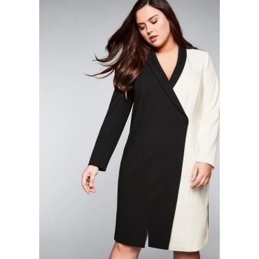 Große Größen: Blazerkleid in Kontrastfarben mit V-Ausschnitt, schwarz-weiß, Gr.44-58