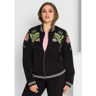 Große Größen: Blouson-Jacke mit Stickerei, schwarz, Gr.40-58