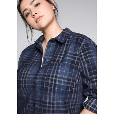 Große Größen: Bluse aus Cord mit Brusttasche, marine, Gr.44-58