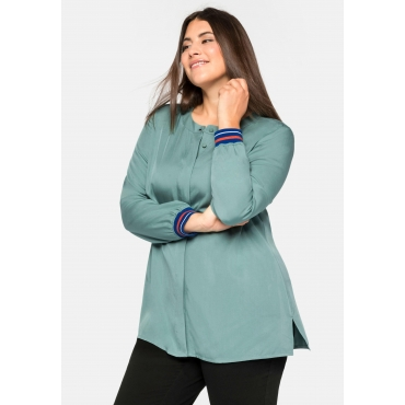 Bluse aus TENCEL™ Lyocell, mit Kontrastbündchen, rauchgrün, Gr.44-58