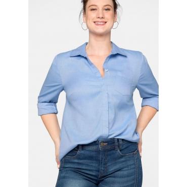 Bluse Basic mit Brusttasche in Melangeoptik, azurblau, Gr.44-58