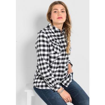 Große Größen: Bluse im Karo-Design, schwarz gemustert, Gr.40-58