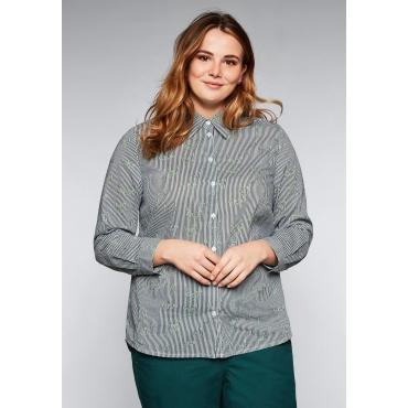 Große Größen: Bluse im Streifen-Design, tiefgrün bedruckt, Gr.44-58