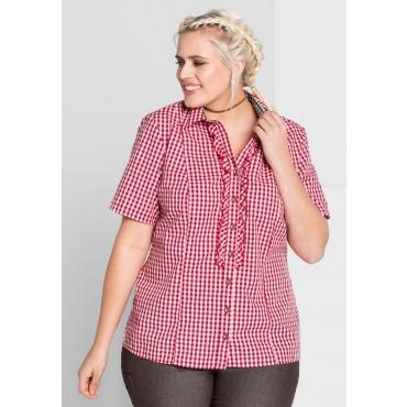 Große Größen: Bluse im Trachten-Look, rot-weiß, Gr.44-58