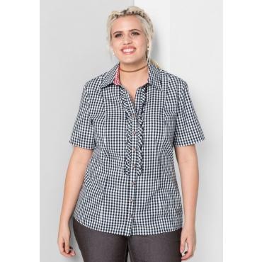 Große Größen: Bluse im Trachten-Look, schwarz-weiß, Gr.44-58