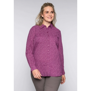 Große Größen: Bluse in Crinkleoptik mit Hemdkragen, lila, Gr.44-58