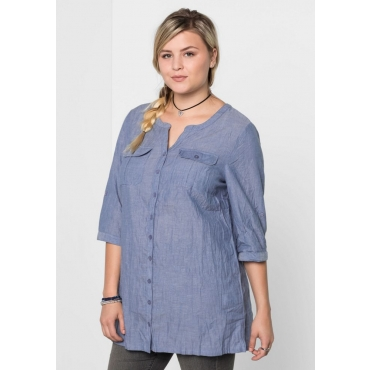 Große Größen: Bluse in Crinkle-Optik, rauchblau, Gr.40-58