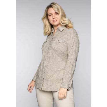 Große Größen: Bluse in Crinkleoptik mit Hemdkragen, softtaupe, Gr.44-58