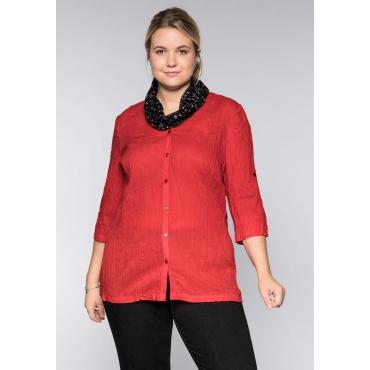 Große Größen: Bluse in gecrinkelter Qualität mit Loopschal, mohnrot, Gr.44-58
