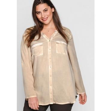 Große Größen: Bluse in Oil-washed-Optik, beigefarben, Gr.44-58