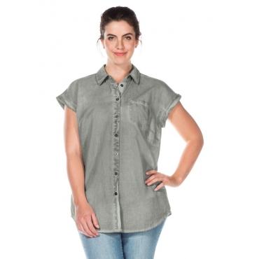 Große Größen: Bluse in Oil-washed-Optik, grau, Gr.40/42-56/58