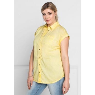Große Größen: Bluse in Oil-washed-Optik, hellgelb, Gr.44/46-56/58