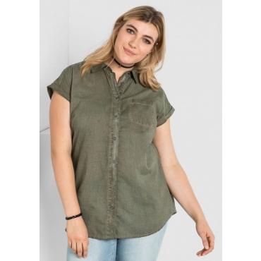 Große Größen: Bluse in Oil-washed-Optik, khaki, Gr.44/46-56/58