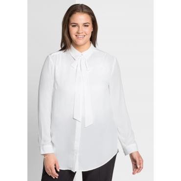 Große Größen: Bluse mit abknöpfbarer Schluppe, offwhite, Gr.44-58
