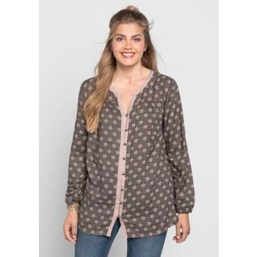 Große Größen: Bluse mit Alloverdruck, dunkelgrau, Gr.40-58