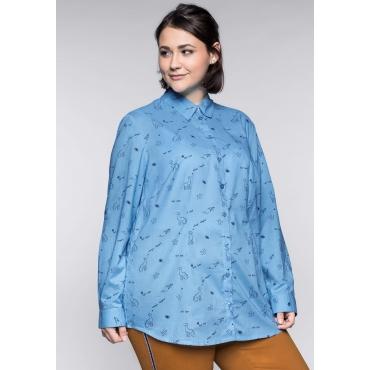 Große Größen: Bluse mit Alloverdruck, himmelblau, Gr.44-58