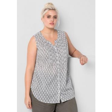 Große Größen: Bluse mit Alloverdruck, khaki-weiß, Gr.44-58