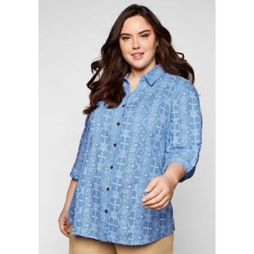 Bluse mit Alloverstickerei und 3/4-Ärmeln, jeansblau, Gr.44-58