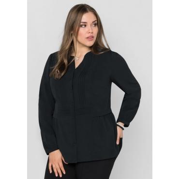 Große Größen: Bluse mit Biesen, schwarz, Gr.40-58