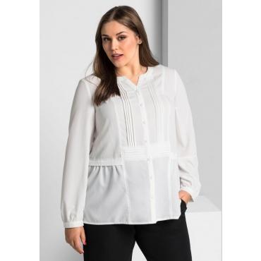Große Größen: Bluse mit Biesen, weiß, Gr.40-58