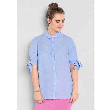 Große Größen: Bluse mit Bindebändern, pastellblau, Gr.40-58