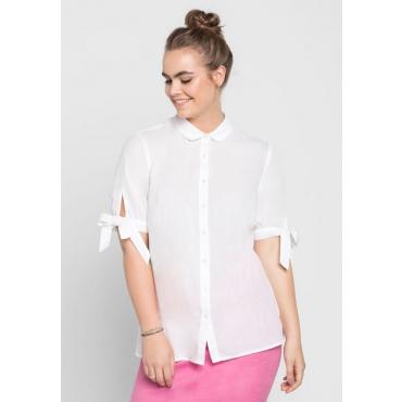 Große Größen: Bluse mit Bindebändern, weiß, Gr.40-58