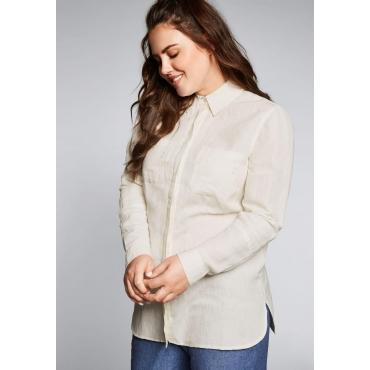 Große Größen: Bluse mit Brusttaschen im Leinen-Mix, offwhite, Gr.44-58