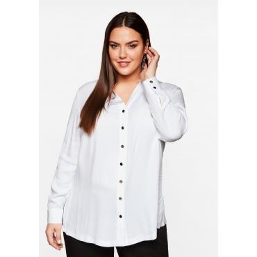 Bluse mit dekorativen Knöpfen, aus Viskose, weiß, Gr.44-58