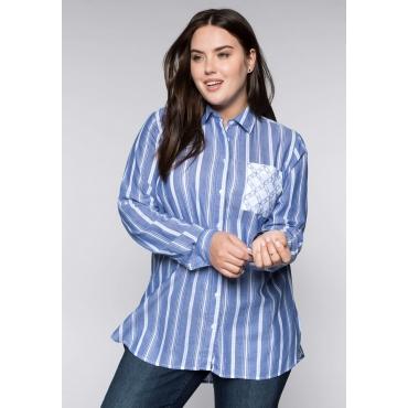Große Größen: Bluse mit femininen Stickereien, blau, Gr.44-58