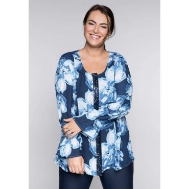 Große Größen: Bluse mit floralem Alloverdruck, marine bedruckt, Gr.44-58