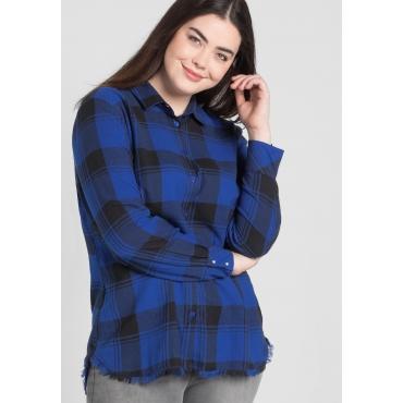 Große Größen: Bluse mit Fransen, royalblau, Gr.44-58