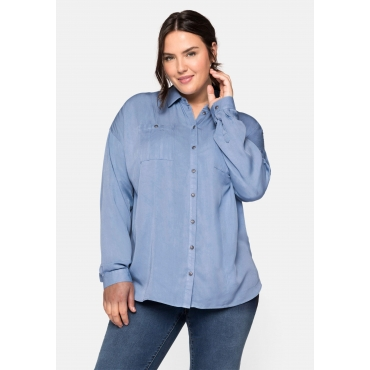 Bluse mit Hemdkragen und Brusttaschen, jeansblau, Gr.44-58