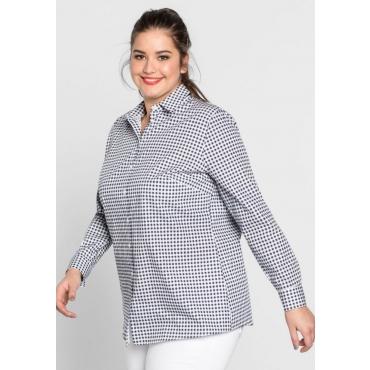 Große Größen: Bluse mit Karo-Muster, marine gemustert, Gr.44-58