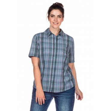 Große Größen: Bluse mit Krempelärmeln, hellblau gemustert, Gr.40/42-56/58