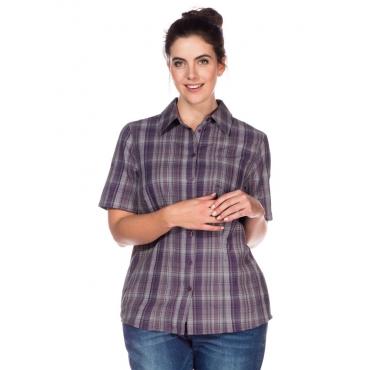 Große Größen: Bluse mit Krempelärmeln, lila, Gr.40/42-56/58