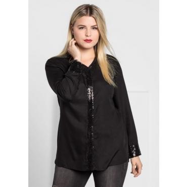 Große Größen: Bluse mit Pailletten, schwarz, Gr.40-58