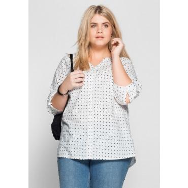 Große Größen: Bluse mit Pünktchendruck, weiß-schwarz, Gr.40-58