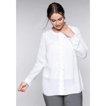 Große Größen: Bluse mit Rüschenbesatz, weiß, Gr.44-58