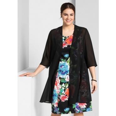 Große Größen: Bluse mit Schalkragen, schwarz, Gr.44-58