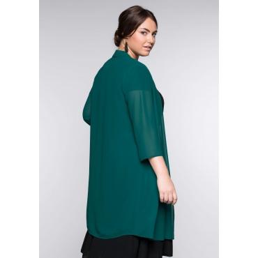 Große Größen: Bluse in verschlussloser Form mit Schalkragen, smaragd, Gr.44-58