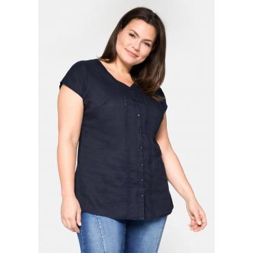 Bluse mit Spitze und V-Ausschnitt, aus Baumwolle, marine, Gr.44-58