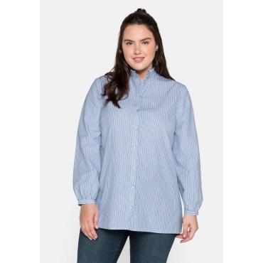 Bluse mit Stehkragen und gewebten Streifen, offwhite gestreift, Gr.44-56