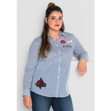 Große Größen: Bluse mit Streifen und Patches, rauchblau-weiß, Gr.40-58