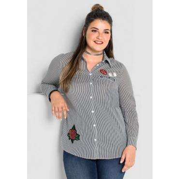 Große Größen: Bluse mit Streifen und Patches, schwarz-weiß, Gr.40-58
