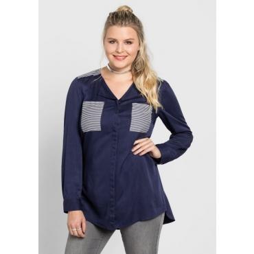 Große Größen: Bluse mit Streifendruck, marine, Gr.40-58