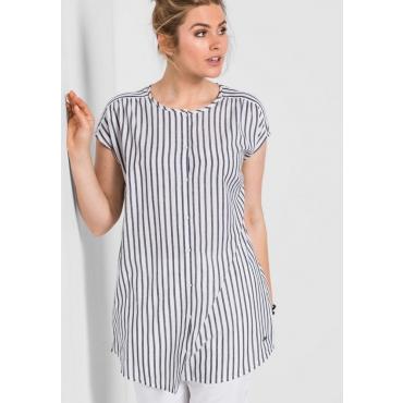Große Größen: Bluse mit Streifenmuster, weiß-schwarz, Gr.40-52