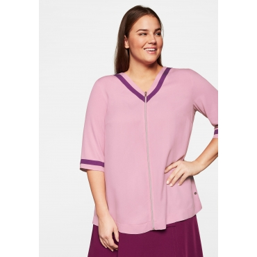 Bluse mit Zipper, Kontrastdetails und V-Ausschnitt hinten, hellmauve, Gr.44-58